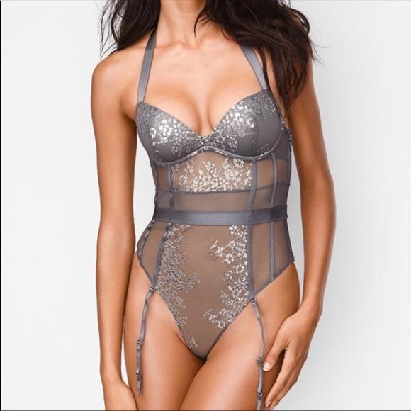 0f354f231268a VS Very Sexy Shine Lace Halter Teddy Bodysuit. NWT. Victoria's Secret